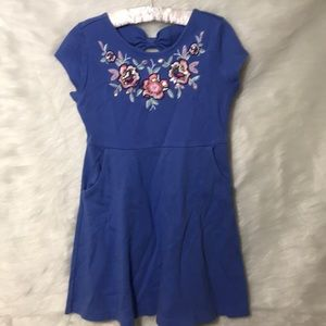 Child's Blue Flower Embroidered Gymboree Dress